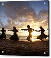 Five Hula Dancers At The Beach At Palauea Acrylic Print