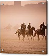 Five People Riding Thoroughbred Horses Acrylic Print