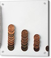 Five Rows Of Euro Coins Decreasing In Size Acrylic Print