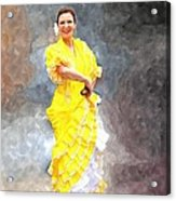 Flamenco Dancer In Yellow Acrylic Print