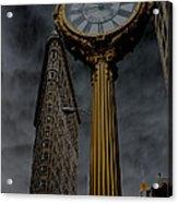 Flatiron Building And Clock Acrylic Print