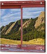 Flatirons Boulder Colorado Red Barn Picture Window Frame Photos  Acrylic Print