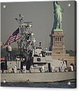 Fleet Week Vessels Pass By The Statue Acrylic Print