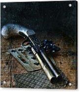 Flint Lock Pistol And Playing Cards Acrylic Print