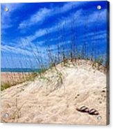 Flip Flops In The Sand Acrylic Print
