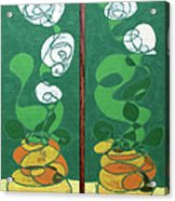 Floral Diptych In Green And Orange Acrylic Print