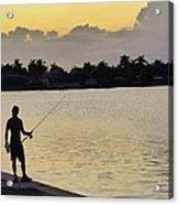 Florida Fishing At Sunset Acrylic Print