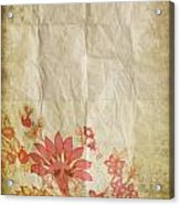 Flower Pattern On Old Paper Acrylic Print