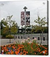 Flowers At Citi Field Acrylic Print by Rob Hans