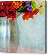 Flowers In Metal Pitcher Acrylic Print