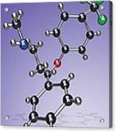 Fluoxetine Drug Molecule Acrylic Print by Miriam Maslo