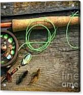 Fly Fishing Rod With Polaroids Pictures On Wood Acrylic Print