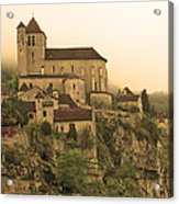 Fog Descending On St Cirq Lapopie In Sepia Acrylic Print