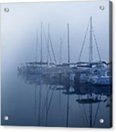 Fog Hides Sun From Sailboats Acrylic Print