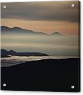 Fog In The Hills At Mammoth Lakes Acrylic Print