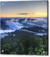Fog Lifting At Sunrise Acrylic Print