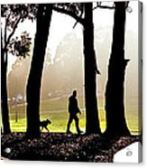 Foggy Day To Walk The Dog Acrylic Print