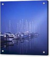 Foggy Morning At A Marina Acrylic Print