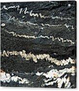 Folds Of Calcite In Limestone Rock Acrylic Print