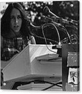 Folk Singer Joan Baez Singing Acrylic Print by Everett