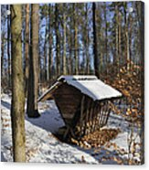 Food Point For Animals In Winterly Forest Acrylic Print by Matthias Hauser