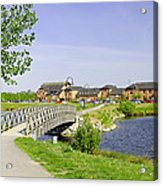 Foot-bridge And Lake - Barton Marina Acrylic Print