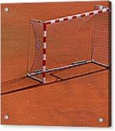 Football Net On Red Ground Acrylic Print