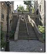Foreshortening Of Montmartre With Street Lamp And Staircase Acrylic Print