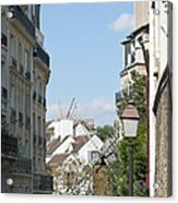 Foreshortening Of Paris With Windmill Sails Acrylic Print