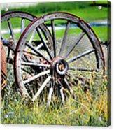 Forgotten Wagon Wheel Acrylic Print by Sarai Rachel