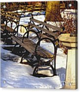 Fountain And Benches In Snow Acrylic Print