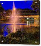 Fountain And Bridge At Night Acrylic Print