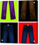 Four Pairs Of Blue Jeans - Painterly Acrylic Print