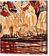 Four Puppies In A Row Acrylic Print by Stephanie Ward