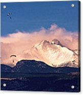 Four Skydivers With Longs Peak And Mount Meeker Rocky Mountain H Acrylic Print