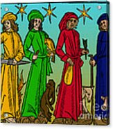 Four Temperaments, Medieval Woodcut Acrylic Print