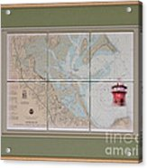 Framed Plymouth Bay With Lighthouse Tile Set Acrylic Print