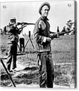 Franklin Roosevelt On A Rifle Range Acrylic Print by Everett