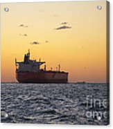 Freight Tanker At Sea - Sunset In Port Aransas Acrylic Print