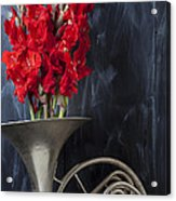 French Horn With Gladiolus Acrylic Print