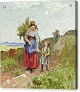 French Peasants On A Path Acrylic Print by Daniel Ridgway Knight