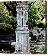 French Quarter Courtyard Statue New Orleans Ink Outlines Digital Art Acrylic Print
