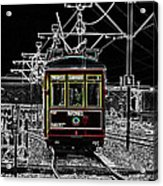 French Quarter French Market Cable Car New Orleans Color Splash Black And White With Glowing Edges Acrylic Print
