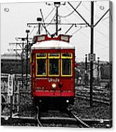French Quarter French Market Cable Car New Orleans Color Splash Black And White With Watercolor Acrylic Print