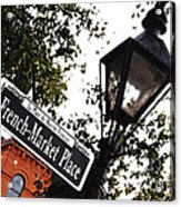 French Quarter French Market Street Sign New Orleans Diffuse Glow Digital Art Acrylic Print