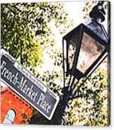 French Quarter French Market Street Sign New Orleans Film Grain Digital Art Acrylic Print