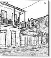 French Quarter Tavern Architecture New Orleans Black And White Photocopy Digital Art Acrylic Print