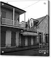French Quarter Tavern Architecture New Orleans Black And White Acrylic Print