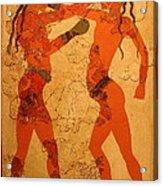 Fresco Of Boxing Children Acrylic Print