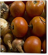 Fresh Tomatos And Onions From A Garden Acrylic Print